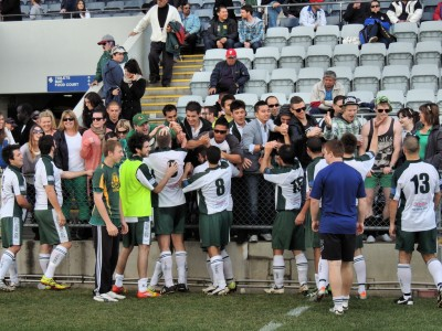Ingle Farm's supporters congratulate Ingle Farm Reserves on their 2012 cup win