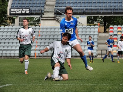 Defender Duy Tran clears for Ingle Farm Reserves